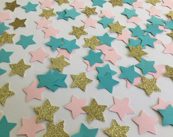 Blue, pink, and gold glitter star confetti ( 15/16 in size )