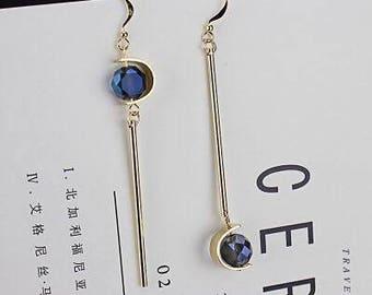 Women Drop Earring / 14k gold Earring / Blue Earring/