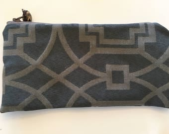 Brown and Beige Zippered Pouch