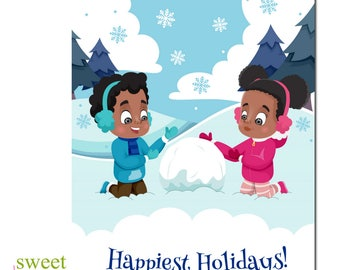 African American Christmas Card | African American Holiday Card | Kids Christmas Cards | Black Christmas Card | Boxed Set