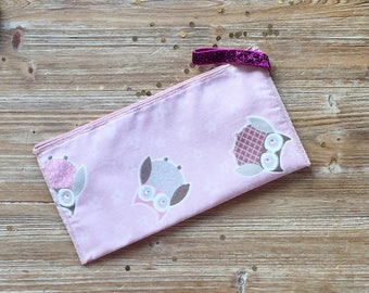 Envelope clutch bag with zip pink, glittery OWL and ring in shades of pink, hot deal!