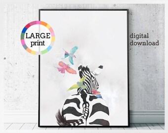 Zebra wall art download - modern art home decor - zebra print - animal print shop zebra art - printable artwork love birds - safari animal