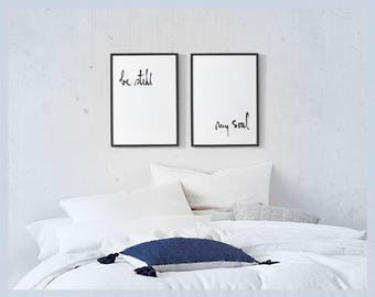Be Still My Soul Printable Set of 2 Prints, Printable Quotes Wall Art Above Bed, Digital Download, Brush Handlettered Black and White