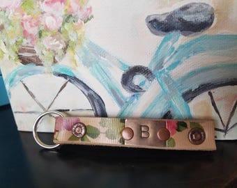 Handmade leather floral keychain