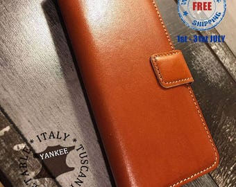 iPhone 7 leather wallet Case | iPhone 7 PLUS leather wallet Case | Premium Italian YANKEE Leather | Honey Brown