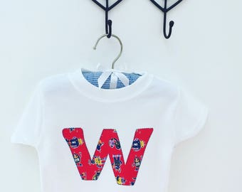 Robot madness - Personalised applique children's age or initial top
