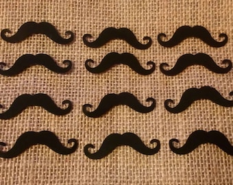 Black Moustaches x12 Card Shapes for Wedding Card Making, Scrapbooking and Crafts