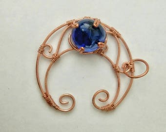 Wire Craft Crescent Moon with Royal Blue Semi Marble