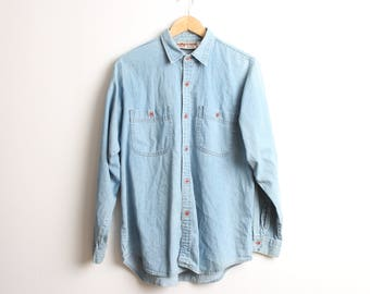 Vintage Retro Denim Shirt Long-sleeve Size Medium