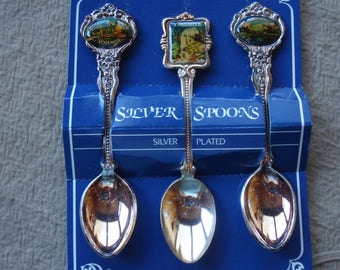 Vintage Three Collectible Yosemite Spoons/Silver plated Spoons/1980s