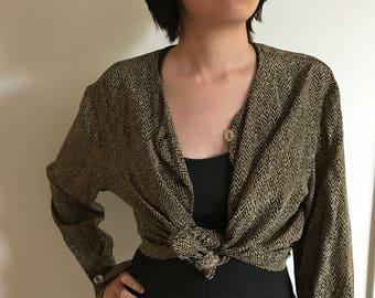 Vintage 80s/90s Linda Hutton 100% Silk Blouse Size Medium