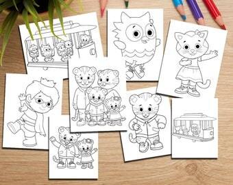 8 Daniel Tiger Coloring Page-Printable Daniel Tiger Party Decor-Kids Coloring Pages-Digital Coloring Book-DIGITAL DOWNLOAD