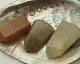 Rutilated Quartz Polished Points - for Home Decor or Metaphysical - Quartz Crystal, Healing Gemstone, Gold Stone