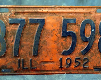 1952 Illinois License Plate only one plate this plate is 65 years old