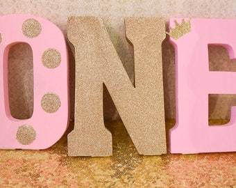 ONE Birthday Pink and Gold Wooden Block Letters!