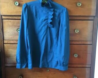 Vintage blouse size S-M 80's 70's polka dots
