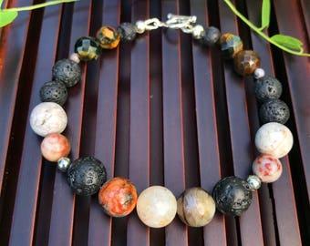 Petrified Wood Agate / Lava Stone / Blue & Gold Tiger Eye / 925 Sterling Silver Yoga Mala Beaded Bracelet. Protection Bracelet.