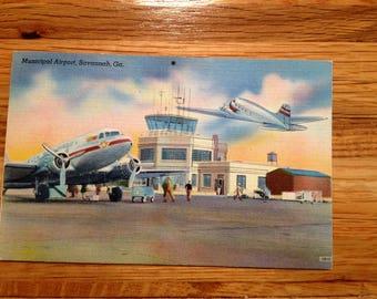 Vintage Postcard-Savannah Georgia Municipal Airport