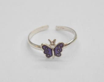 Toe Ring, Sterling Toe Ring, Enamel Toe Ring, Silver Toe Ring, Butterfly Toe Ring, Sterling Silver Enamel Purple Butterfly Toe Ring #1128