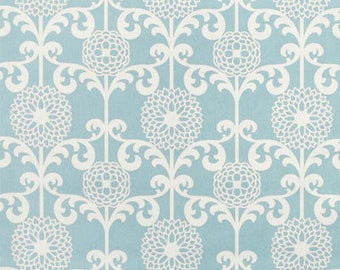 Fun Floret Spa- light blue and white curtains, accent pillows, valance