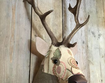 Fabric Deer Head stag buck trophy by Fabric Fallow REAL antlers faux taxidermy hand made No:67