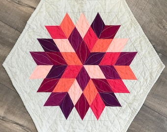 modern table topper | quilted table runner | modern mini quilt | Rock Candy quilt
