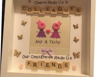Colleagues frame, leavers gift, work friend, colleague gift, chance made is collegues, craziness made us friends