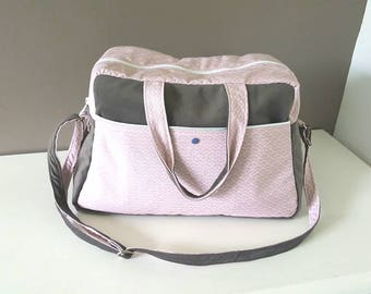 Large diaper bag, powder pink color pastel and gray charcoal, Fuchsia/purple zipped pocket inside, graphics