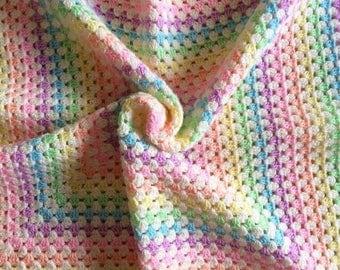 Crochet Baby Blanket Pastel Rainbow Blanket Shell Baby