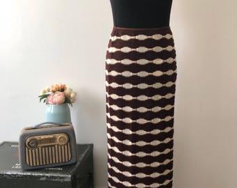 Vintage skirt / skirt long matuere sweater / skirt vintage Kookai / women / vintage clothing / printed 70's