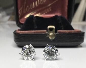 Antique Old European Cut Natural 3.12 CTW Diamond Platinum Stud Earrings