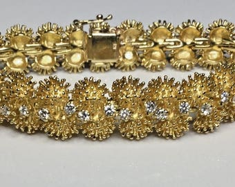 Estate Vintage 18K Yellow Gold 1.84 CTW Diamond Bracelet 54 Grams