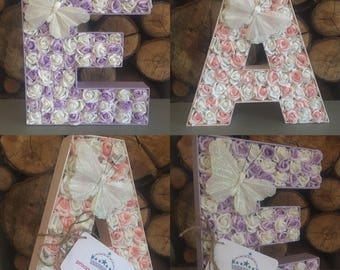 Rose filled large shabby chic letters