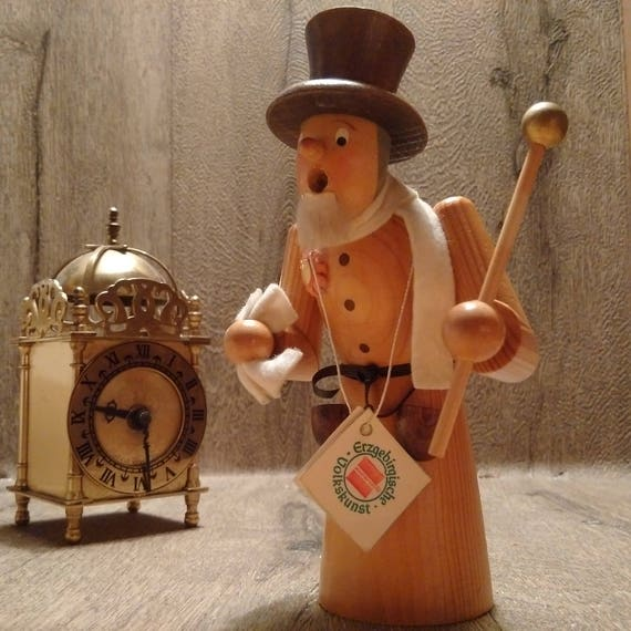 Vintage German Erzgebirge Smoking Wooden Incense Man still with ORIGINAL labels