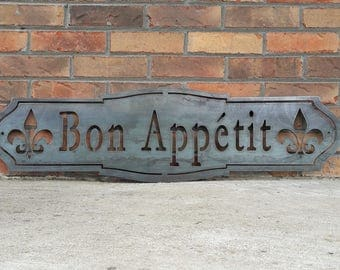 Bon Appetit Metal Sign - French Industrial, Rustic, Farmhouse