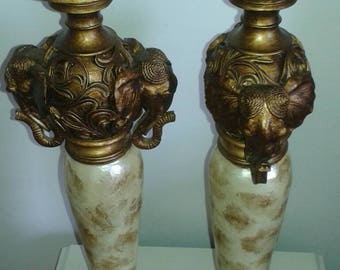 Ornate African Style Elephant Church Candle Candlesticks
