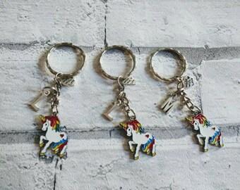 Unicorn keyrings, initial unicorn keyring. Personalised unicorn keyring