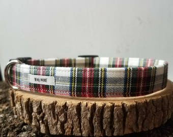 "Tartan Plaid Dog Collar - Red Plaid Dog Collar - Green Plaid Collar -  Holiday Dog Collar - Male Dog Collar - Dog Gift ""The Charles"""