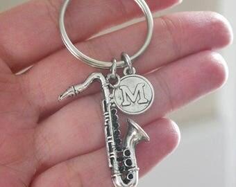 Personalized Saxophone Keychain, Saxophone Keychain, Saxophone Player Gifts, Sax Gifts, Letter Keychain, Jazz Keychain, Jazz Lover Gifts