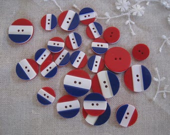Vintage BLUE WHITE RED sewing - 3 buttons.