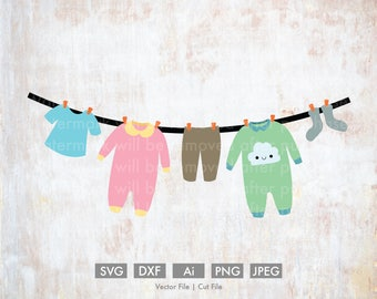 Baby Clothes on a Line - Cut File/Vector, Silhouette, Cricut, SVG, PNG, Clip Art, Download, eps, garland, cloud, baby, outfit, clothesline