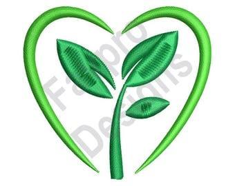 Go Green Heart - Machine Embroidery Design
