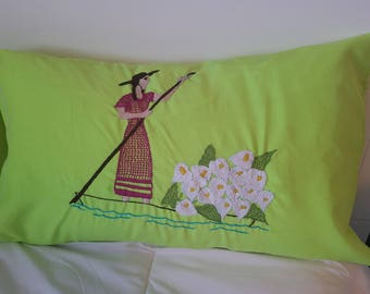 2 Lime pillow covers,decorative pillow cover, embroidery pillow covers