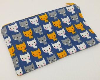 Meow Mix Cats on Blue Zipper Pouch - makeup bag; pencil case; gift for her; cosmetic bag; carry all; gadget case;