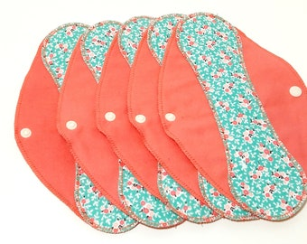 "Turquoise Flowers on Salmon Reusable Pantyliner with Wings (9.5"") - menstrual pad; panty liner; cloth pads; cotton; washable liner; flannel"