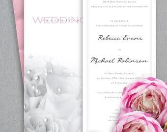 Pink Wedding Invitation, Printable Wedding Invitation, Floral Wedding Invitation, Minimal Wedding Invitation, Romantic wedding invite