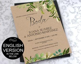 SPANISH - Greenery Invitaciones de Boda Template - Green Watercolor Wedding - DIY Printable Invitations-PDF-Download Instantly  VRD350KWY