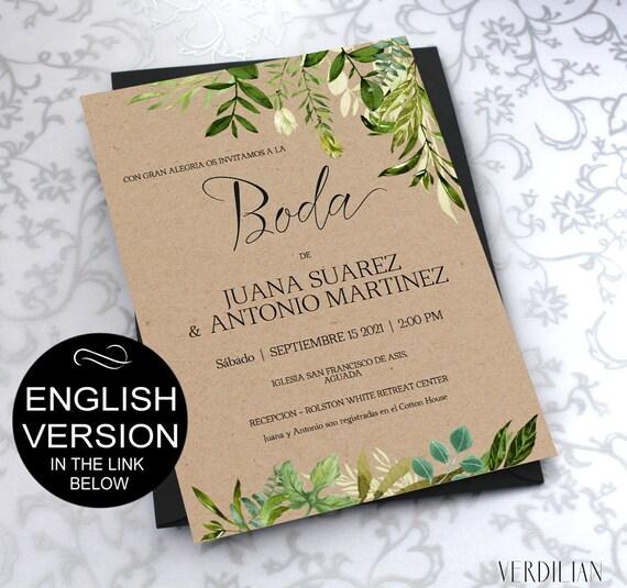 SPANISH Greenery Invitaciones de Boda Template Green