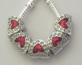 European Red Royal Heart Antique Silver Large Hole Slide Charm Bead, Fits European Charm Bracelets