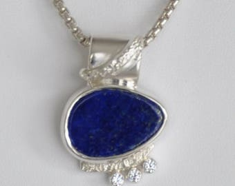 Lapis, Sterling Silver with CZ accent slide